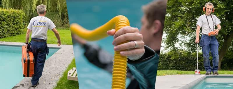 Opsporen van lekken in zwembaden, vijvers en waterbekkens