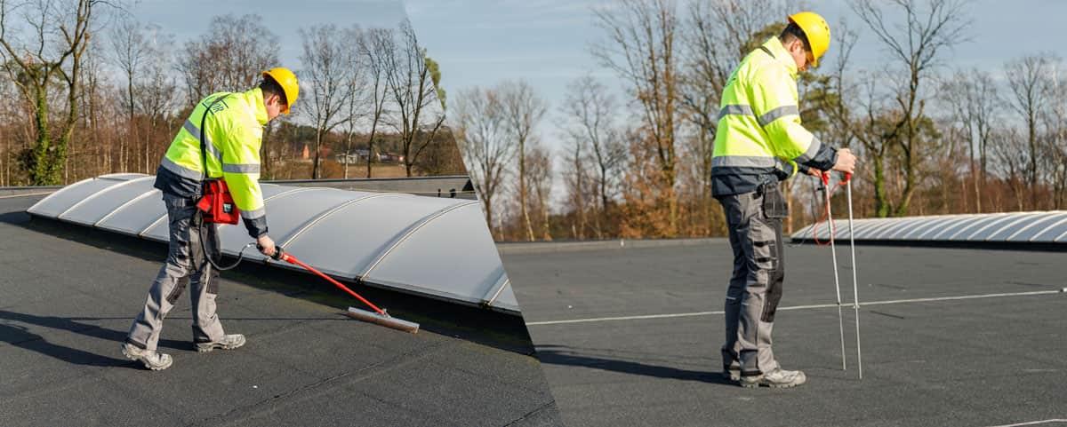 Vorbeugende Kontrolle der Wasserabdichtung von Flachdächern